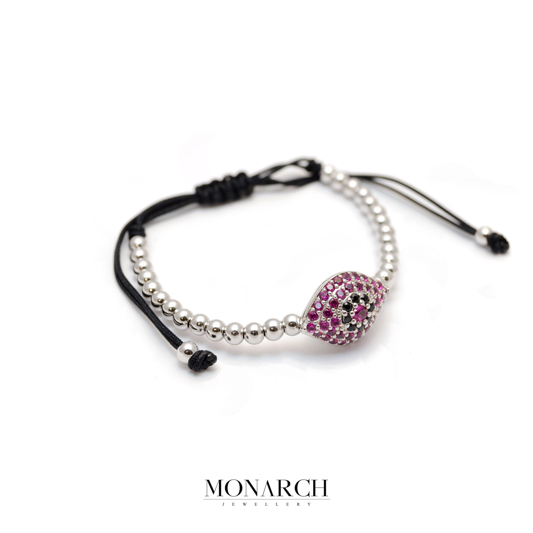 87-Monarch-Jewellery-Silver-Magenta-Evil-Eye-Charm-Macrame-Bracelet-resized