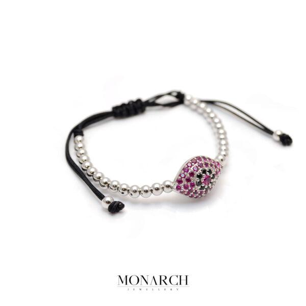 Monarch Jewellery Silver Magenta Evil Eye Charm Macrame Bracelet