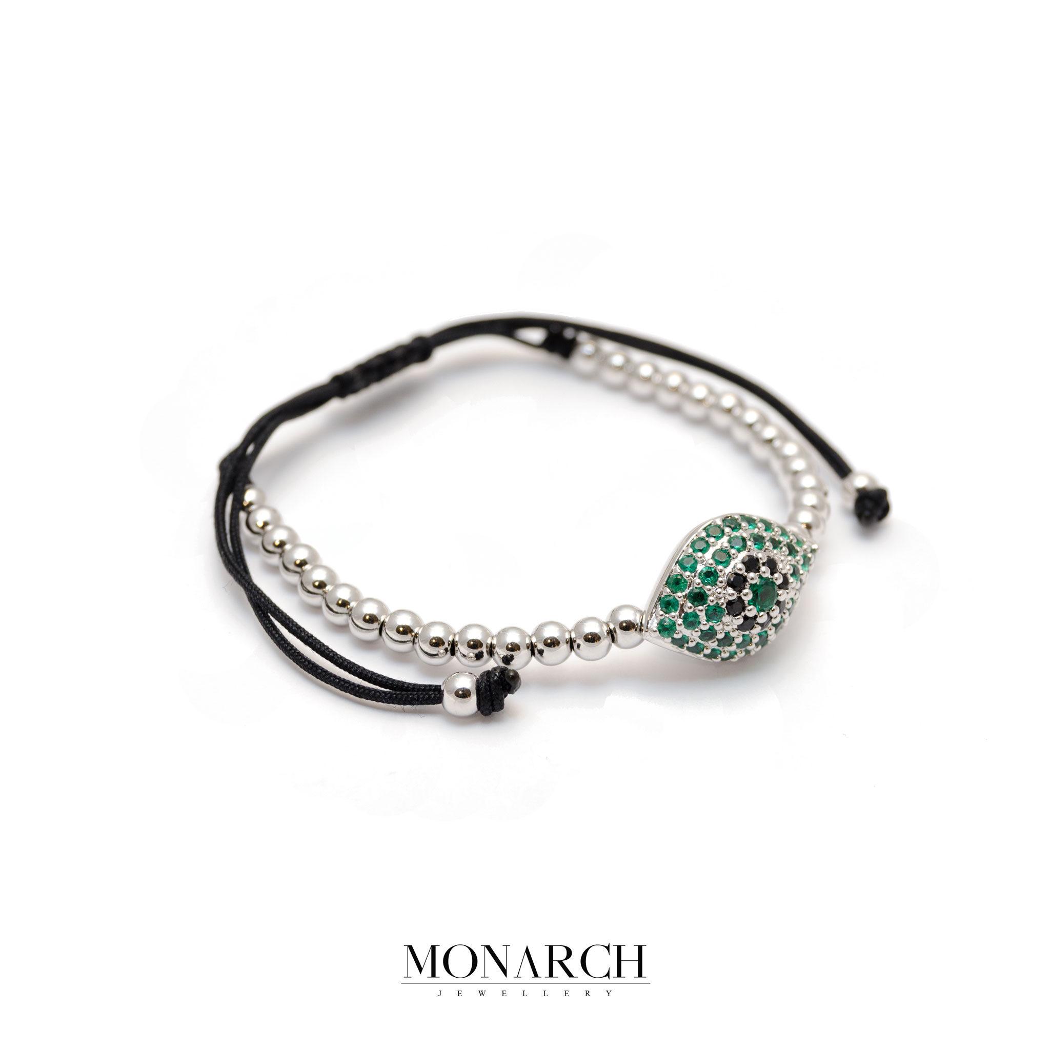 Monarch Jewellery Silver Emerald Evil Eye Charm Macrame Bracelet