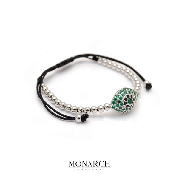 Monarch Jewellery Silver Emerald Evil Eye Charm Macrame Bracelet