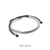 Monarch Jewellery Silver Black Micro Pave Charm Macrame Bracelet