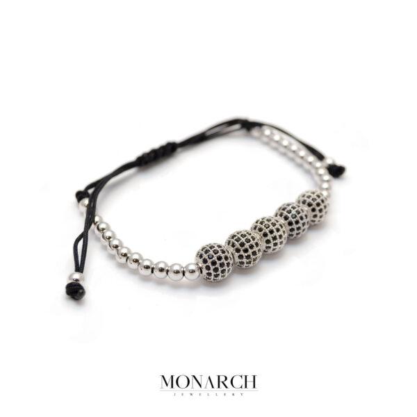 Monarch Jewellery Silver Zircon Bead Macrame Bracelet