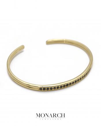 Monarch Jewellery 24k Gold Zircon Bangle Bracelet