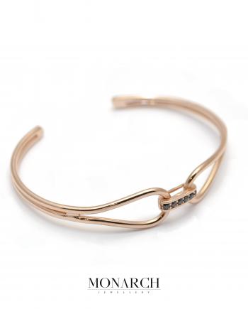 Monarch Jewellery Gold RoseInfinity Bangle Bracelet