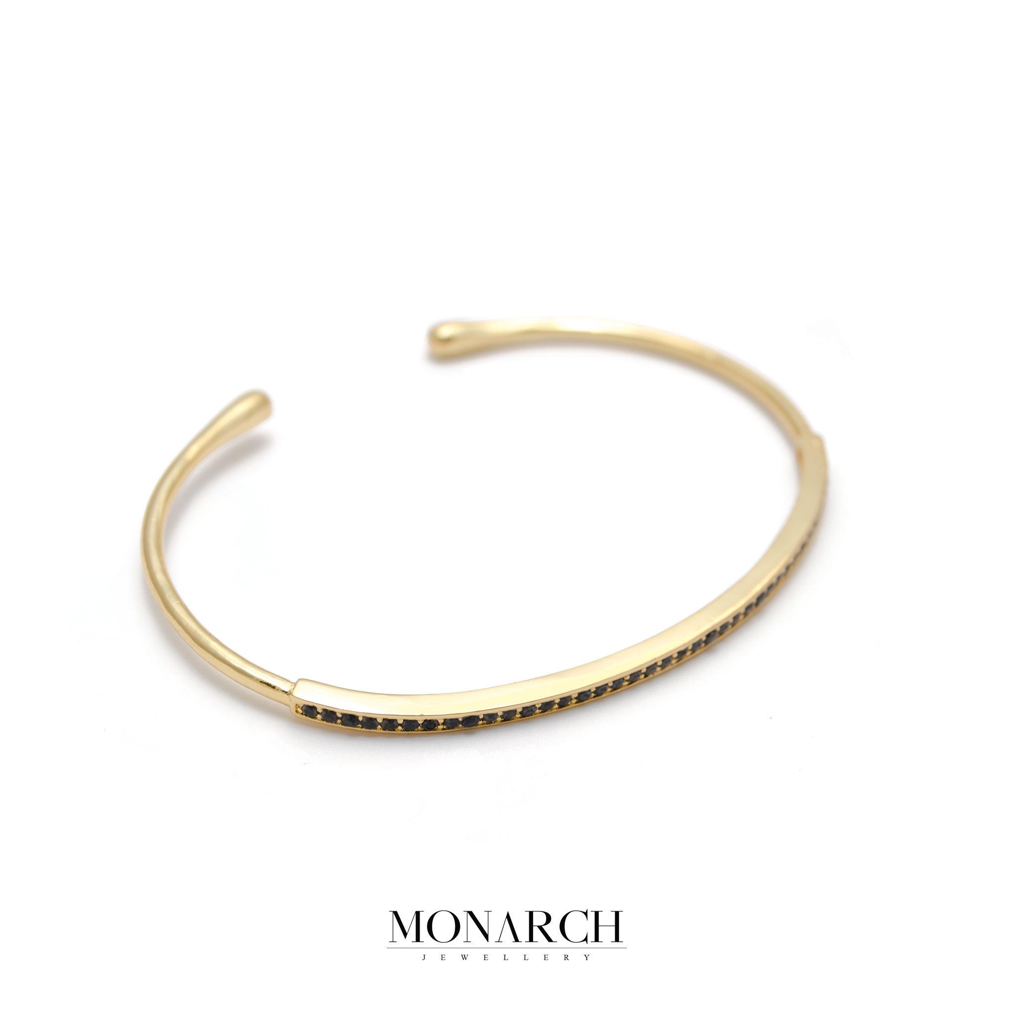 Monarch Jewellery 24k Gold Zircon Slim Bangle Bracelet