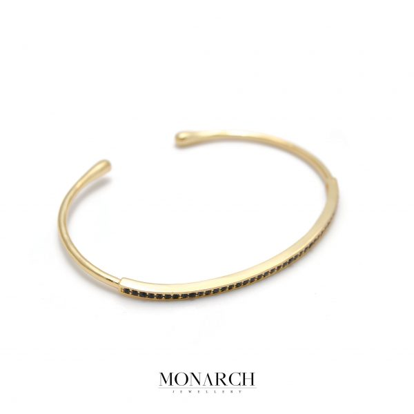 Monarch Jewellery 24k Gold Zircon Slim Bangle Bracelet