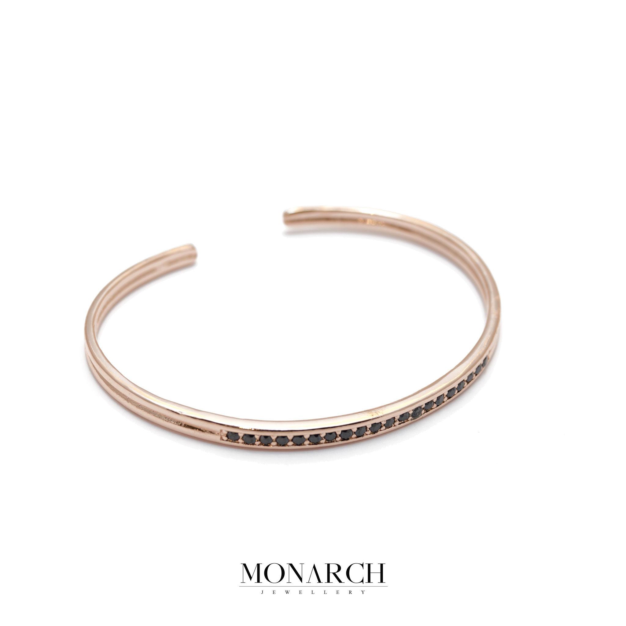 Monarch Jewellery Gold Rose Zircon Bangle Bracelet