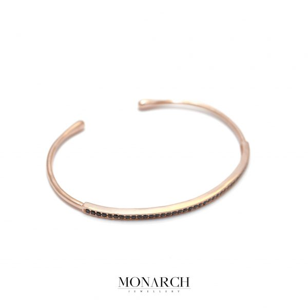 Monarch Jewellery Gold Rose Zircon Slim Bangle Bracelet
