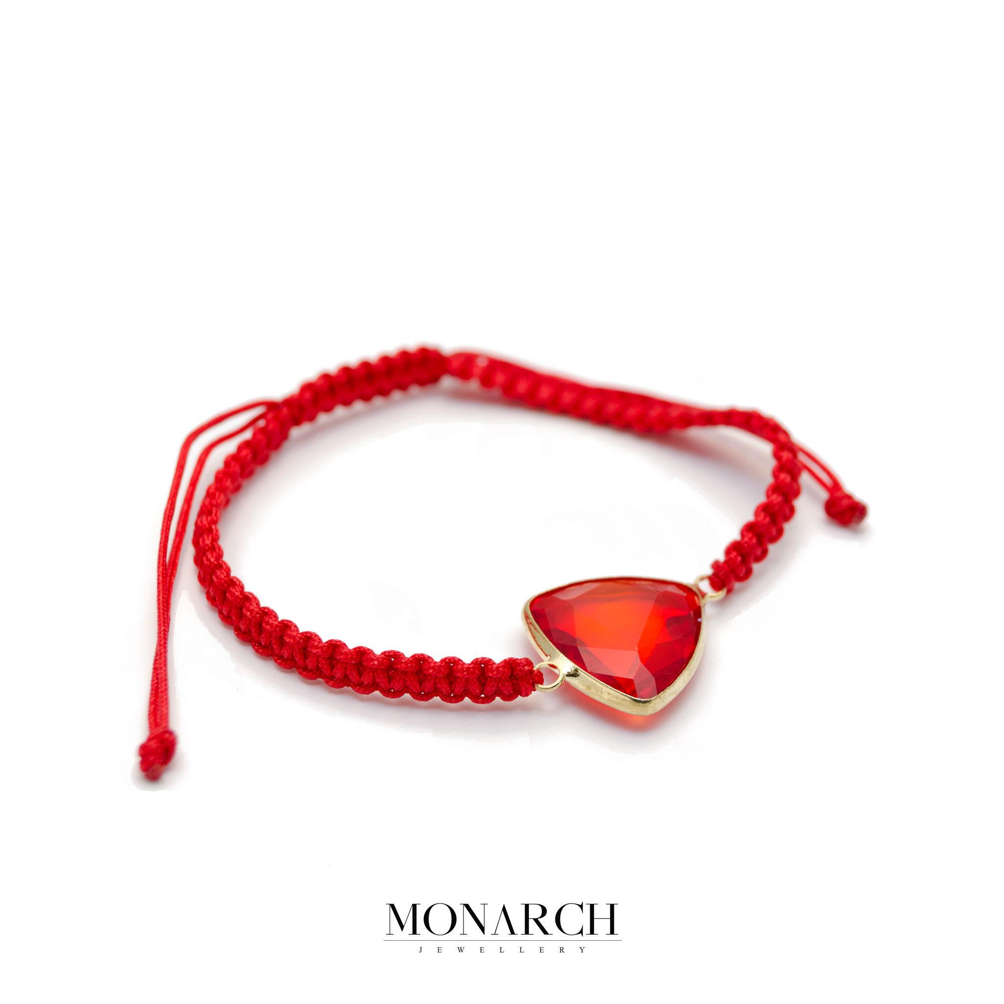Monarch Jewellery Red Dragon Stone Limited Macrame Bracelet