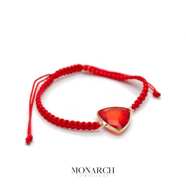 Monarch Jewellery Red Dragon Stone Limited Macrame Bracelet