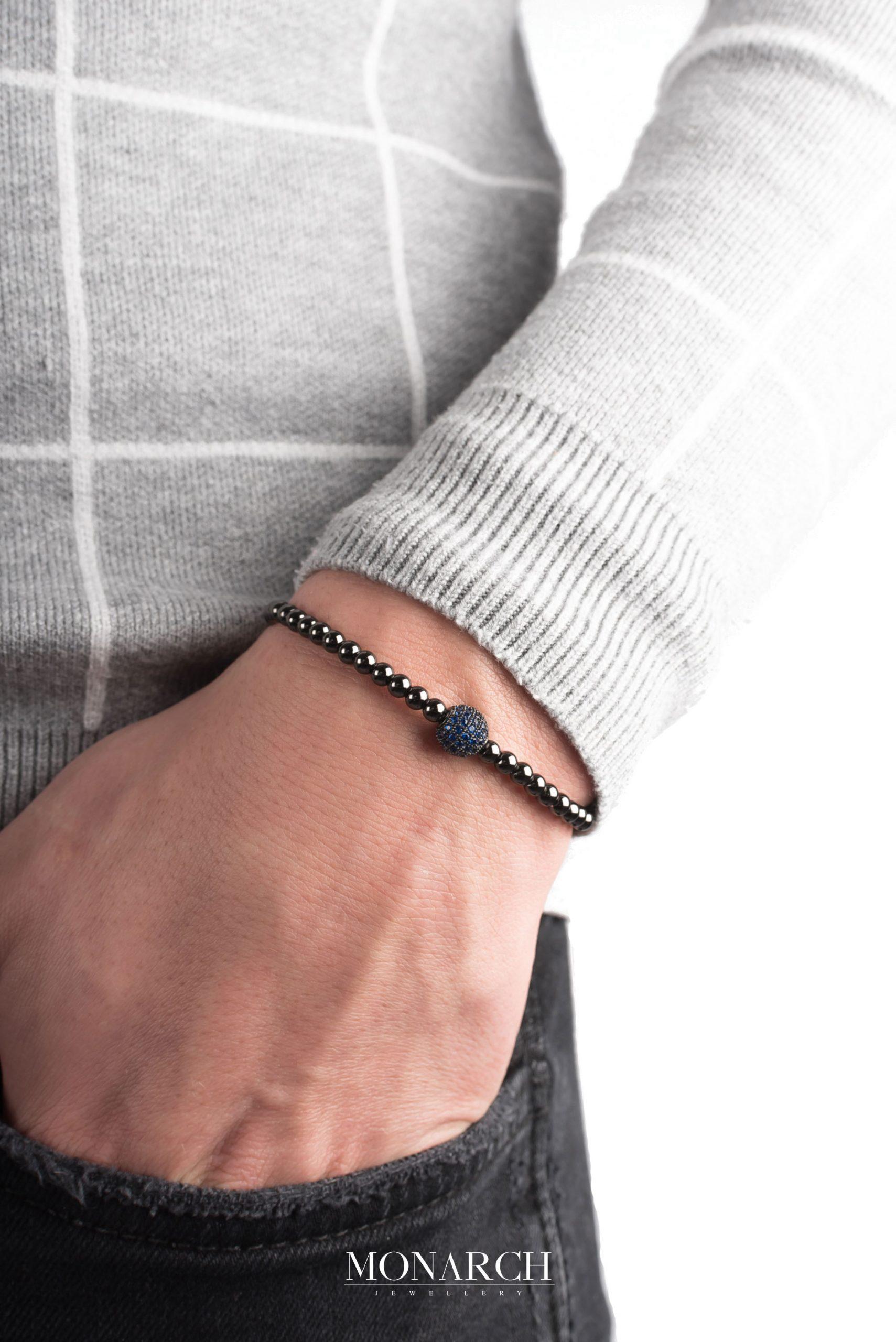 black luxury bracelet for man, monarch jewellery MA60BAZS