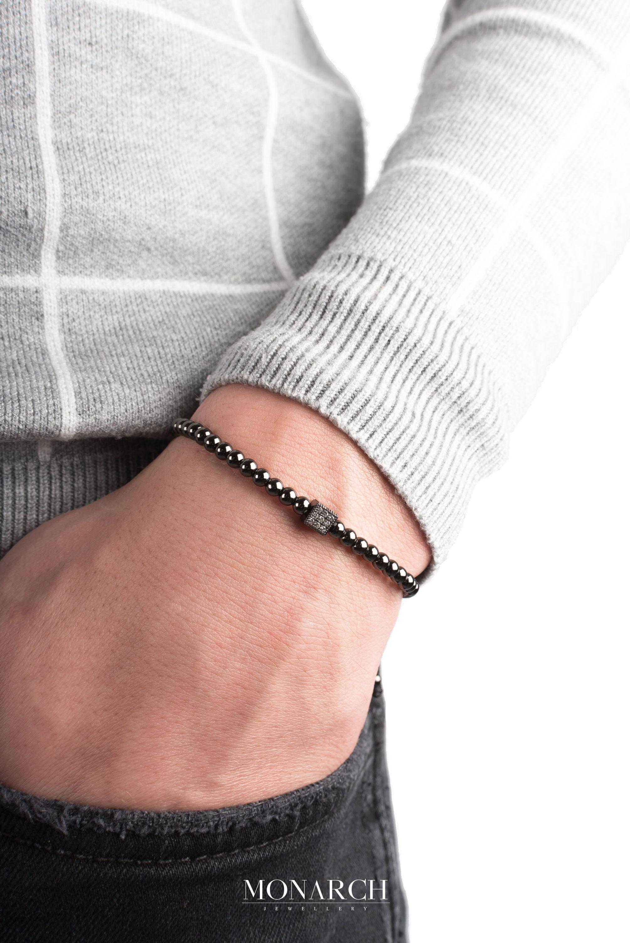 black luxury bracelet for man, monarch jewellery MA61BCUB