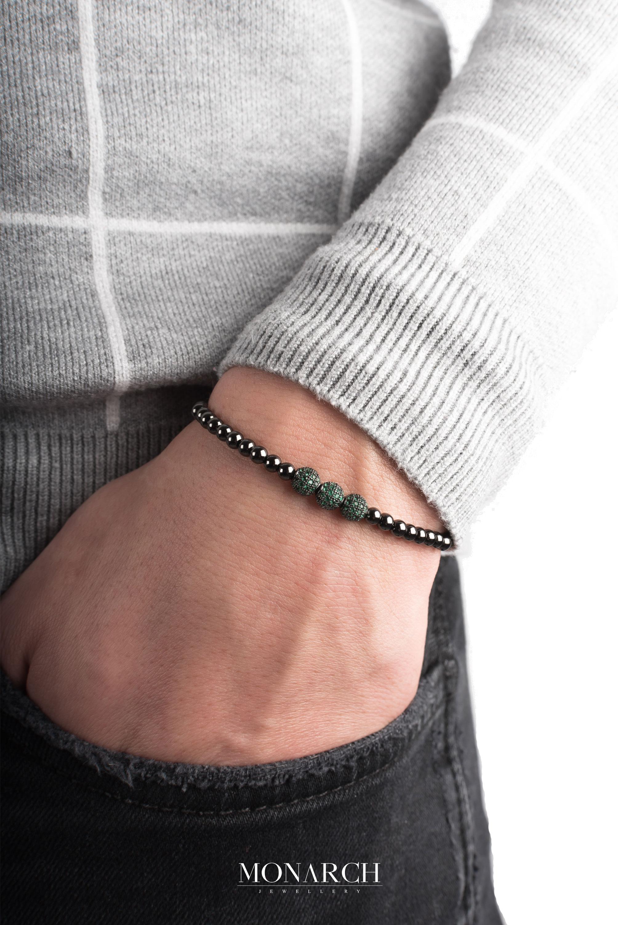 black luxury bracelet for man, monarch jewellery MA64BEMR
