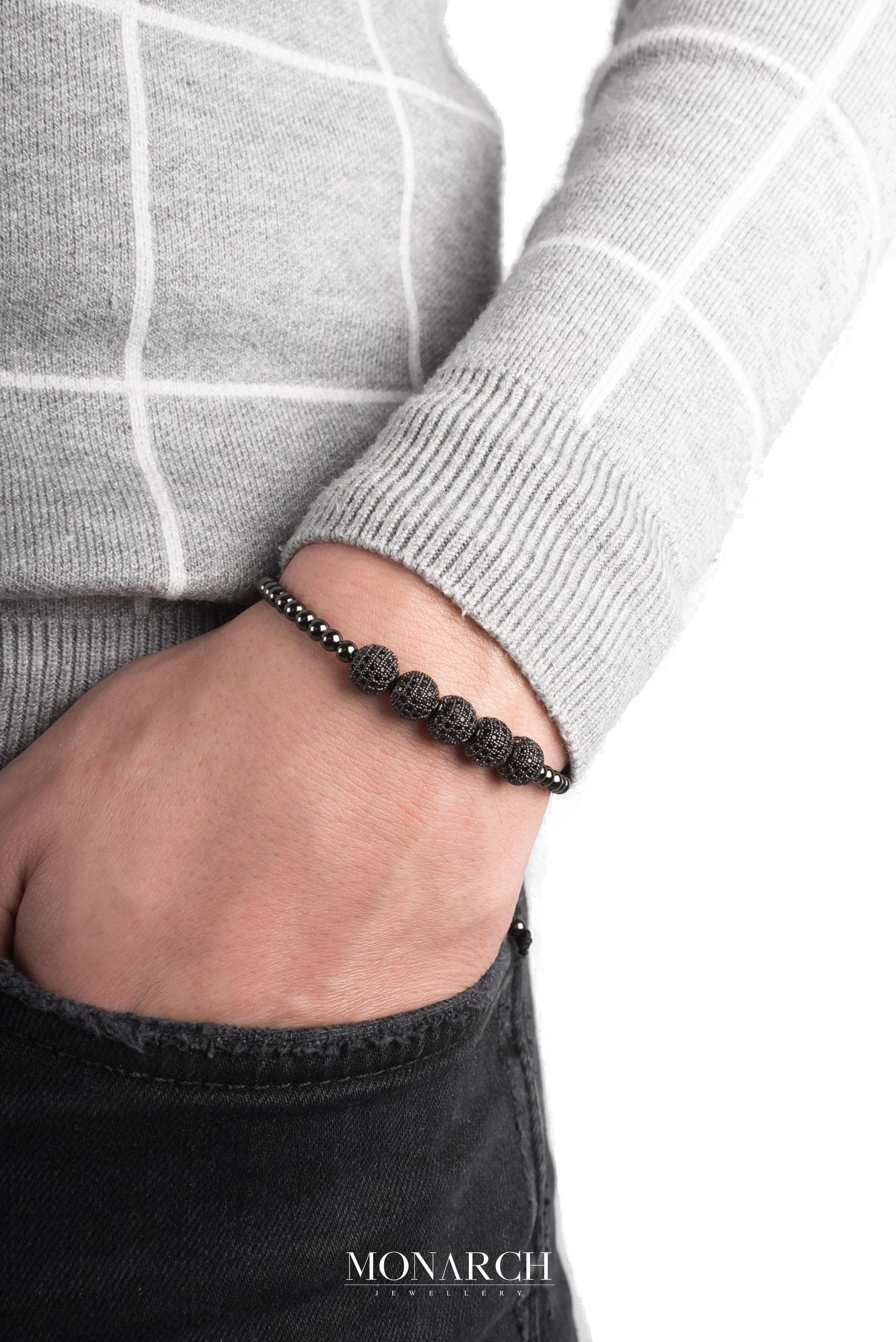 black luxury bracelet for man, monarch jewellery MA72BZBD