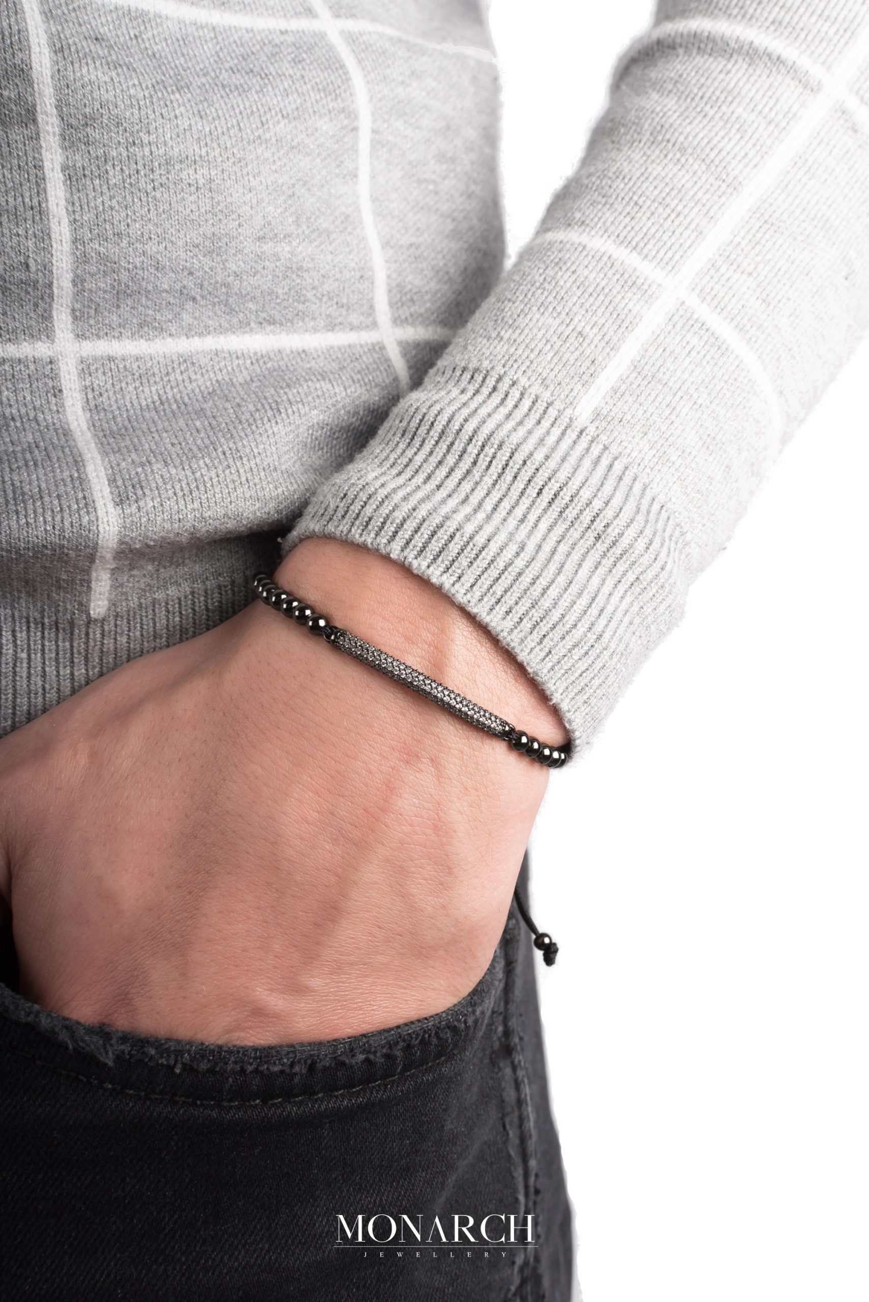 black luxury bracelet for man, monarch jewellery MA74BWMP