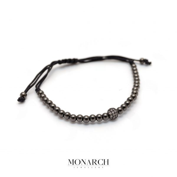 Monarch Jewellery Black White Uno Zircon Macrame Bracelet