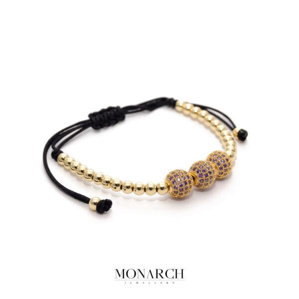24K Gold Trio Pink Beads Bracelet