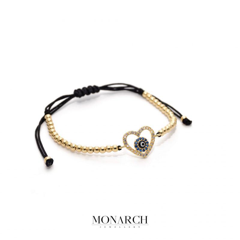 24K Gold Heart Macrame Bracelet