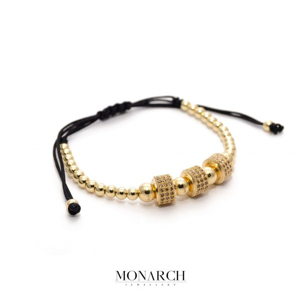 24K Gold Amber Trio Circum Bracelet