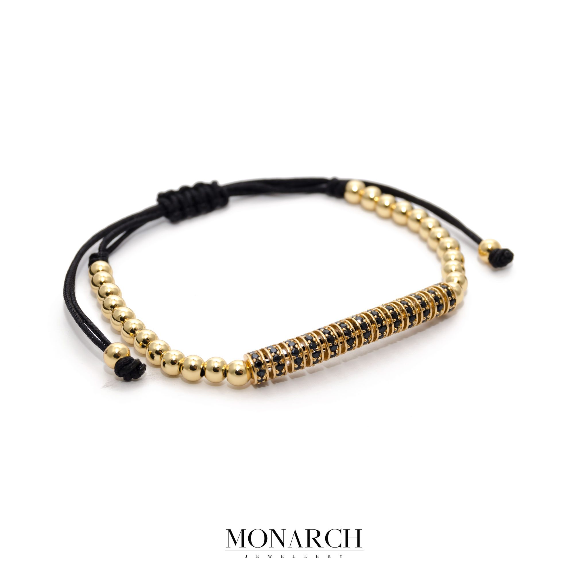 8af5df221e0b4 24K Gold Black Micro Pave Macrame Bracelet. Monarch Jewellery ...