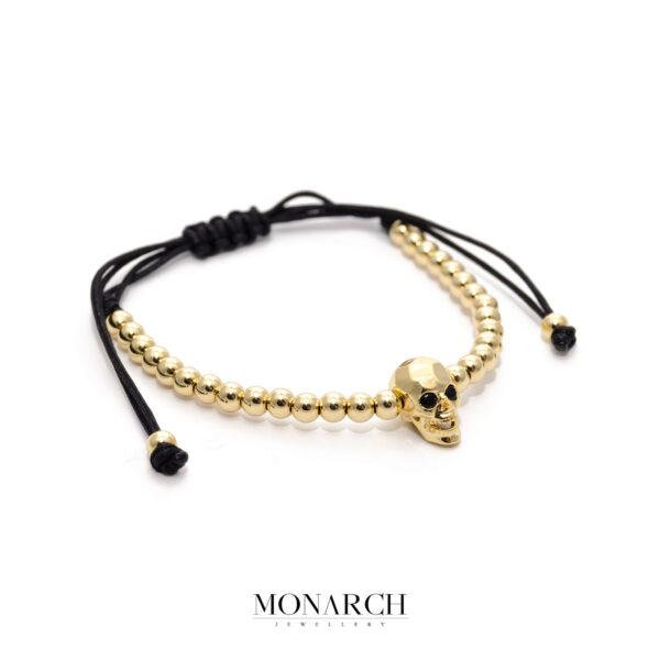 24K Gold Skull Macrame Bracelet