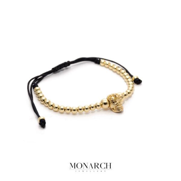 24K Gold Aztec Skull Macrame Bracelet