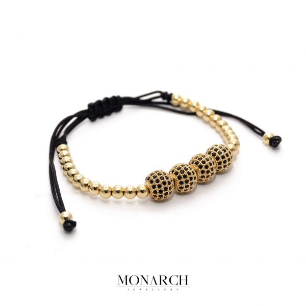 24K Gold Black Tetra Beads Bracelet
