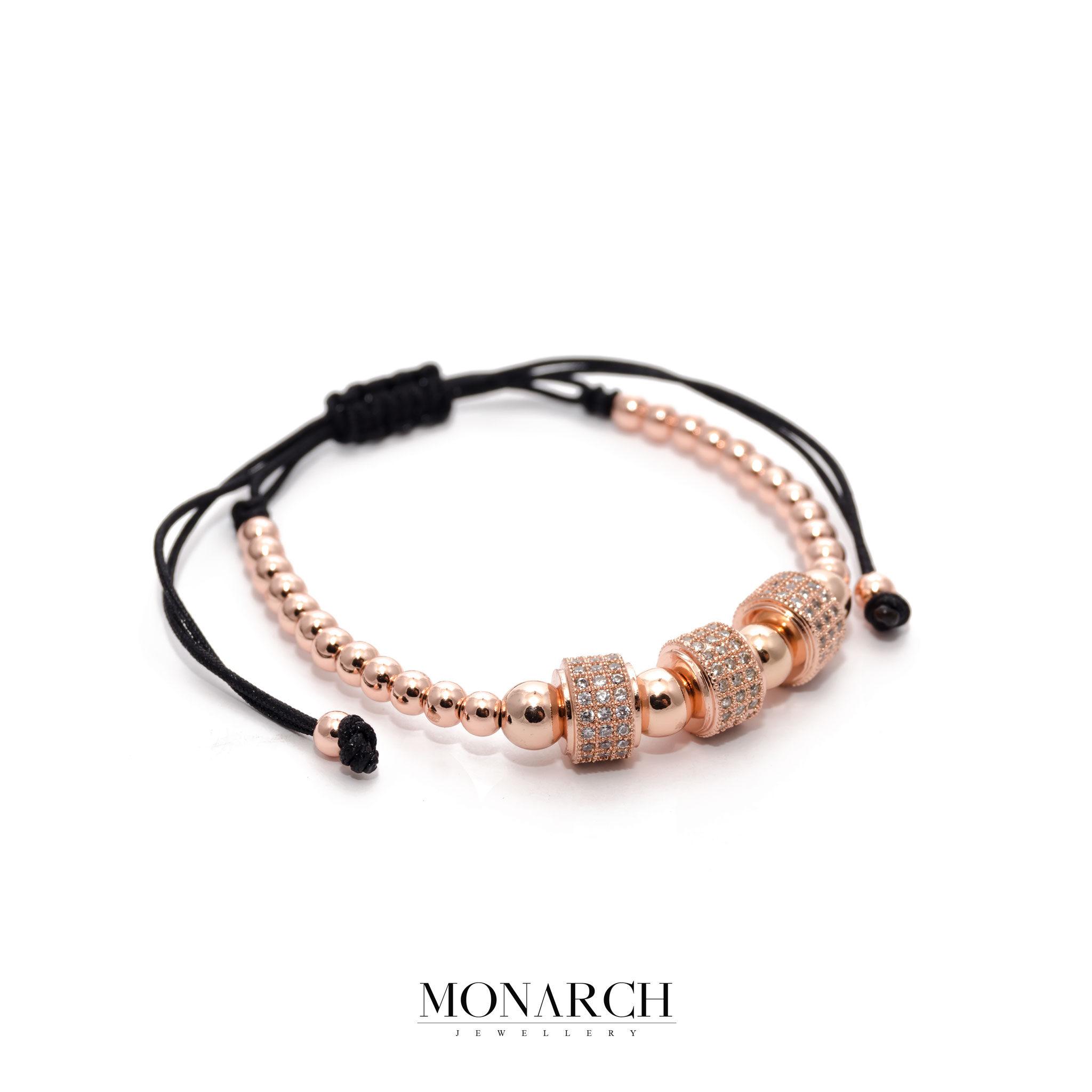 24K Rose Gold Trio Circum Macrame Bracelet