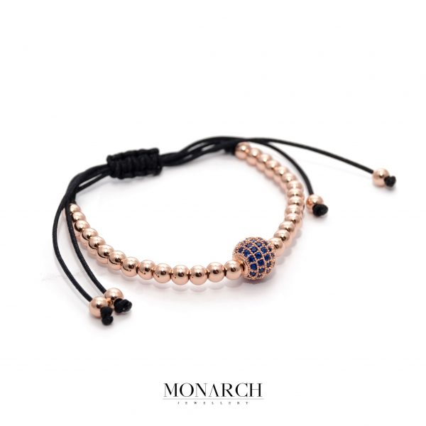 24K Rose Gold Solo Blue Bead Macrame Bracelet