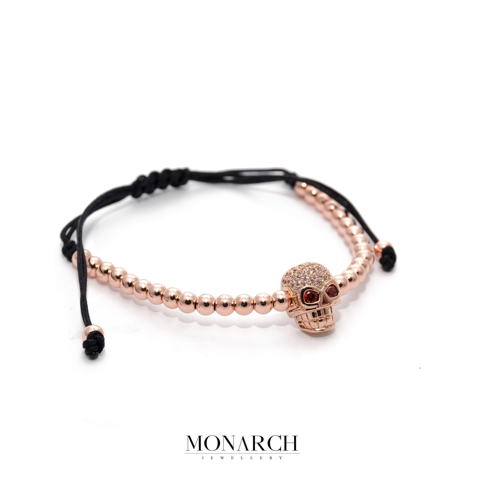 24K Rose Gold Zircon Skull Macrame Bracelet