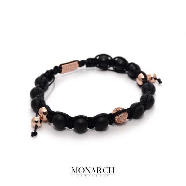 24K Rose Gold Black Beads Macrame Bracelet
