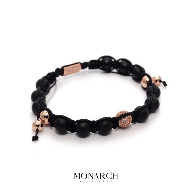 24K Rose Gold Black Beads Macrame Bracelet