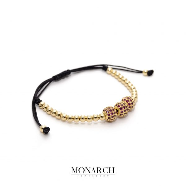 24K Gold Trio Magenta Beads Bracelet