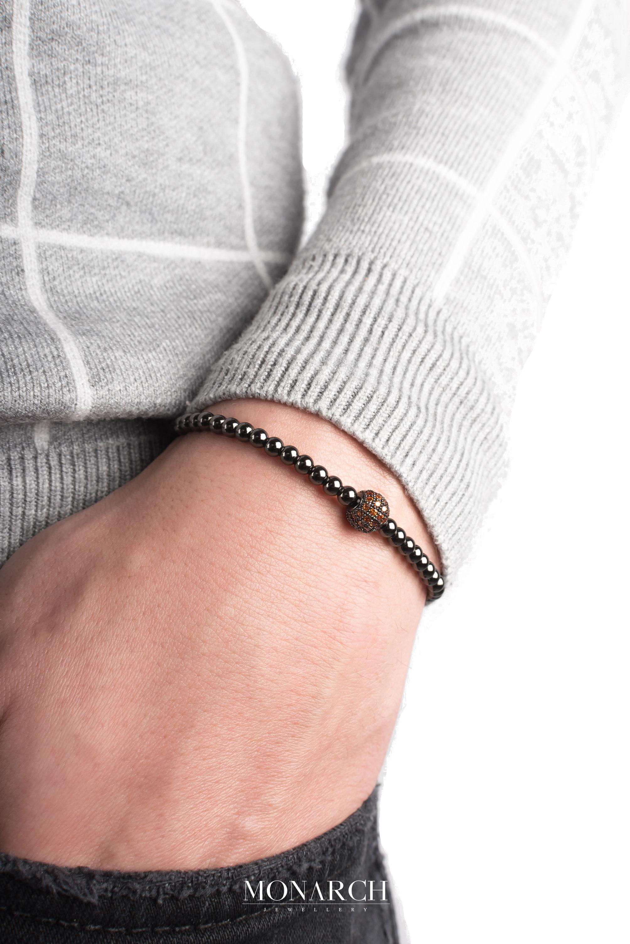 black luxury bracelet for man, monarch jewellery MA137NSR