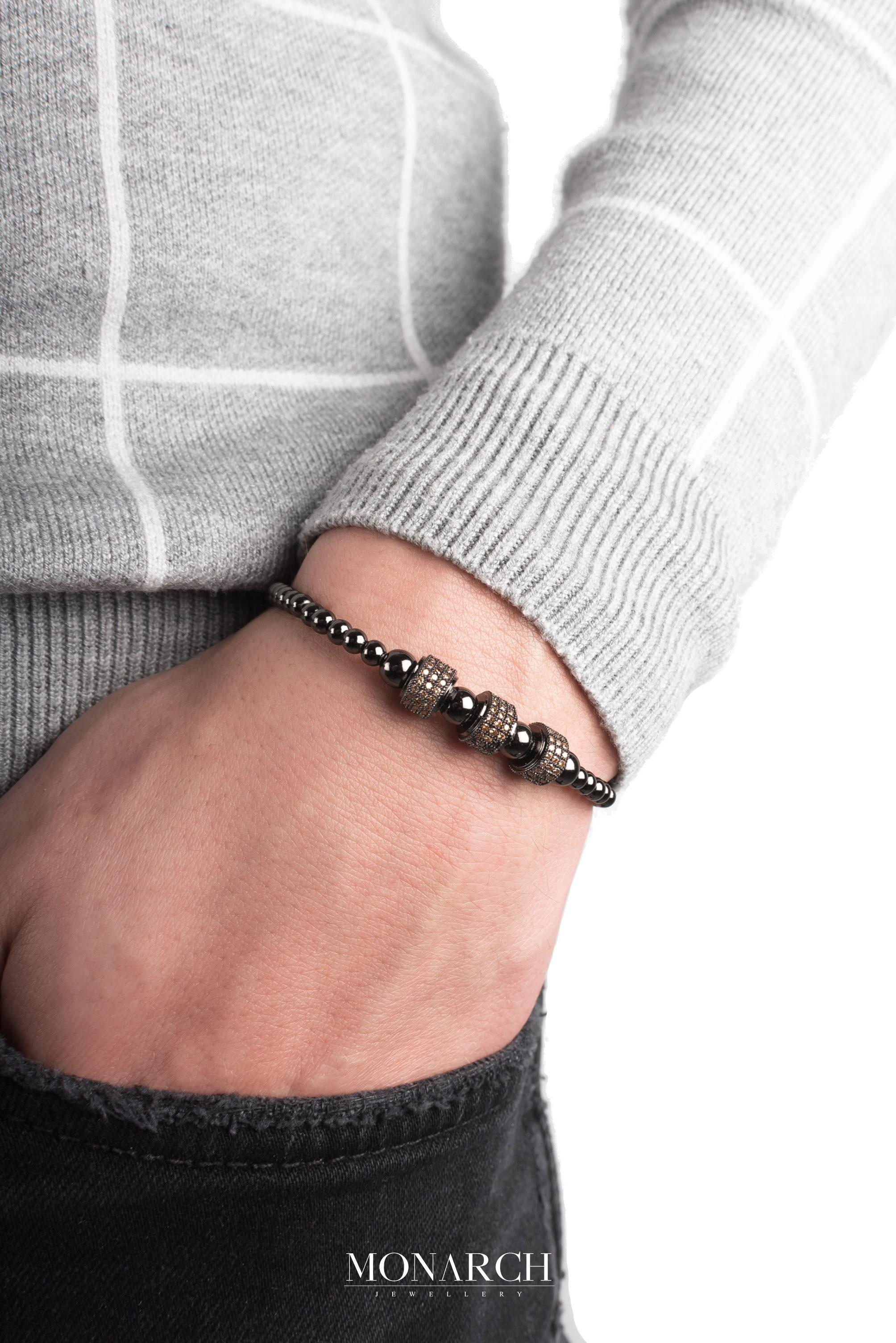 black luxury bracelet for man, monarch jewellery MA138NTC