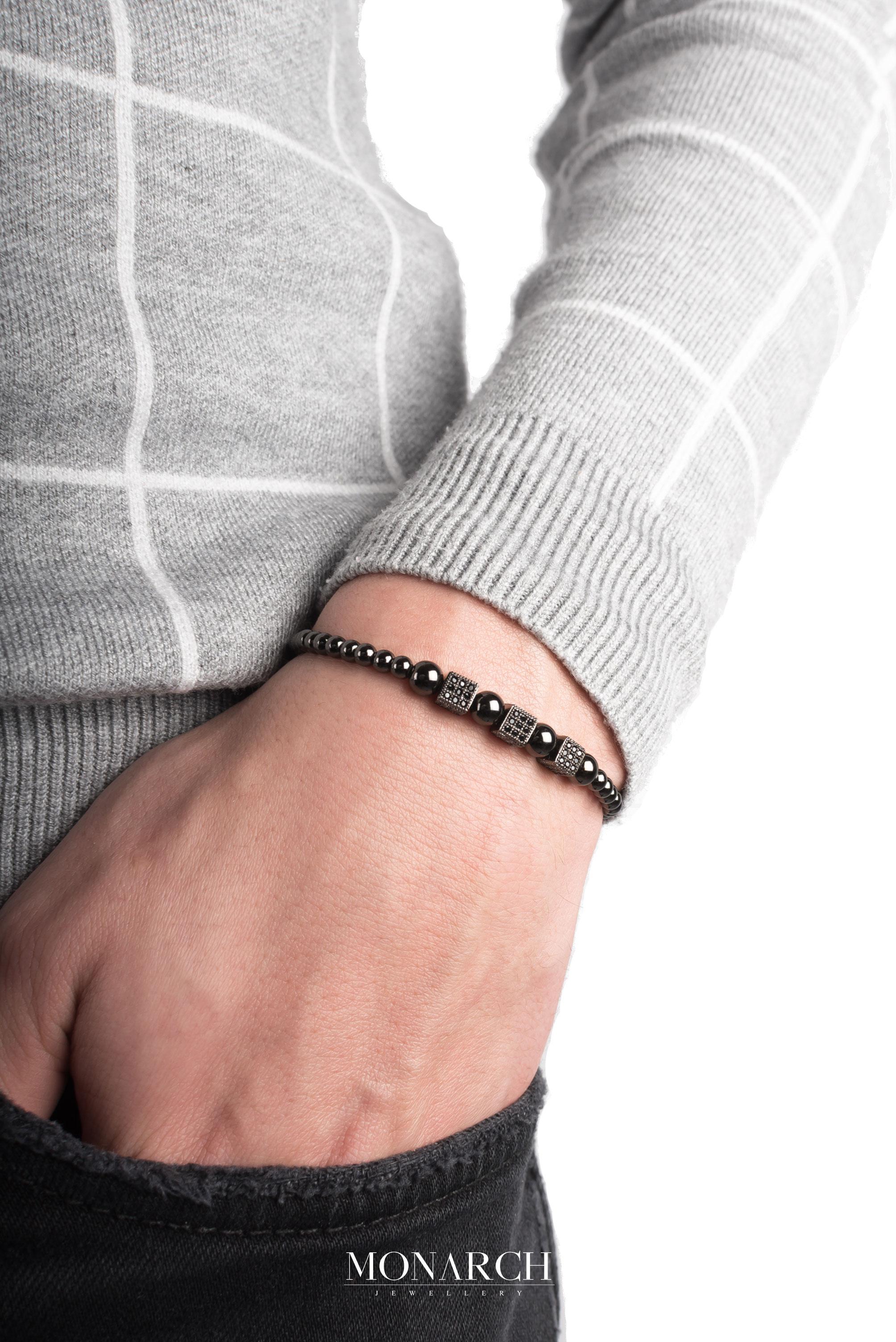 black luxury bracelet for man, monarch jewellery MA139NBT