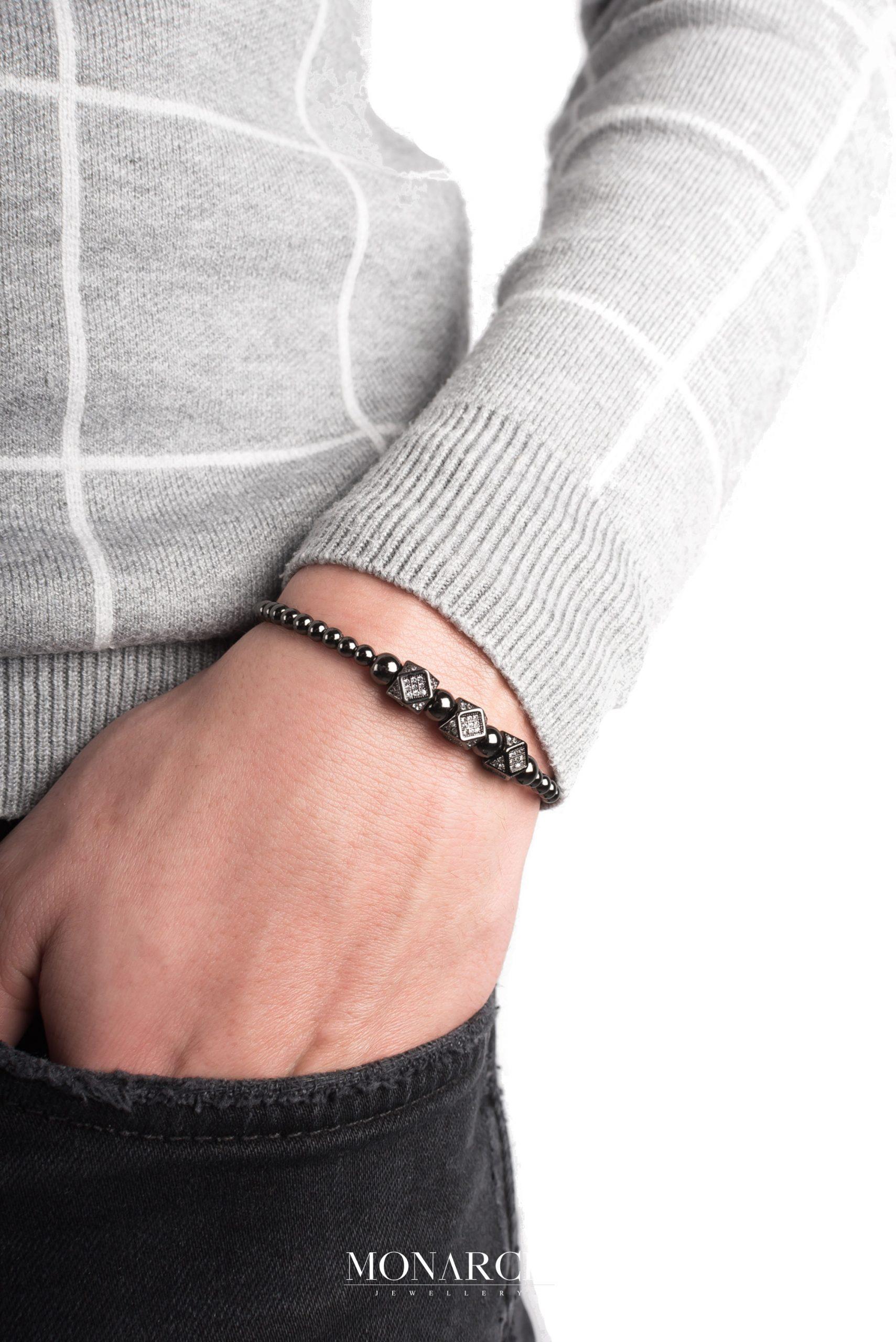 black luxury bracelet for man, monarch jewellery MA141NTH