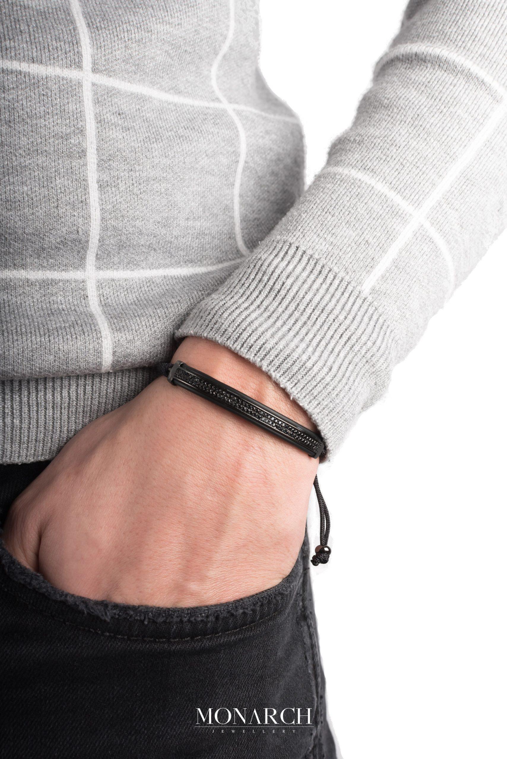 black luxury bracelet for man, monarch jewellery MA142NTB