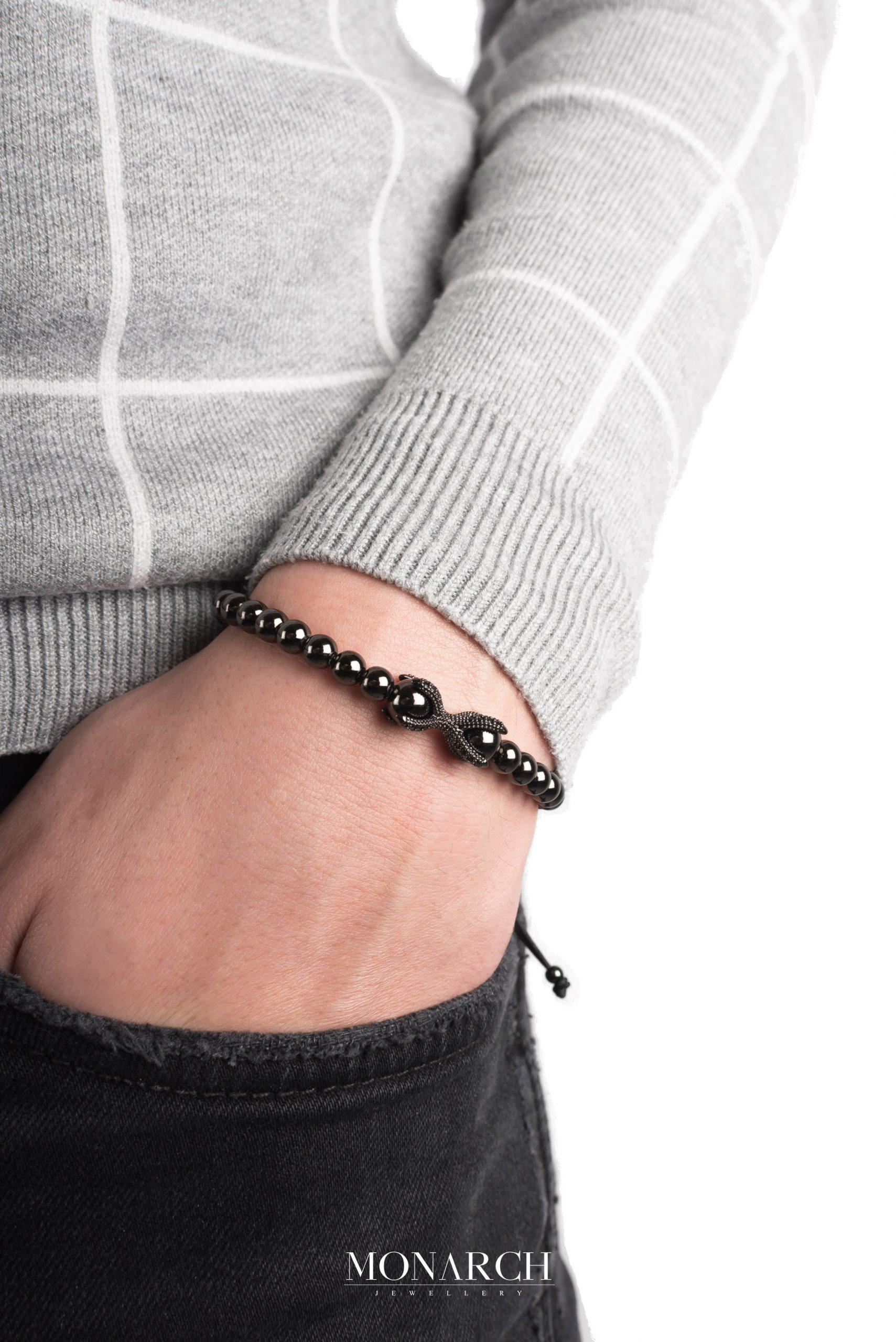 black luxury bracelet for man, monarch jewellery MA146NNB