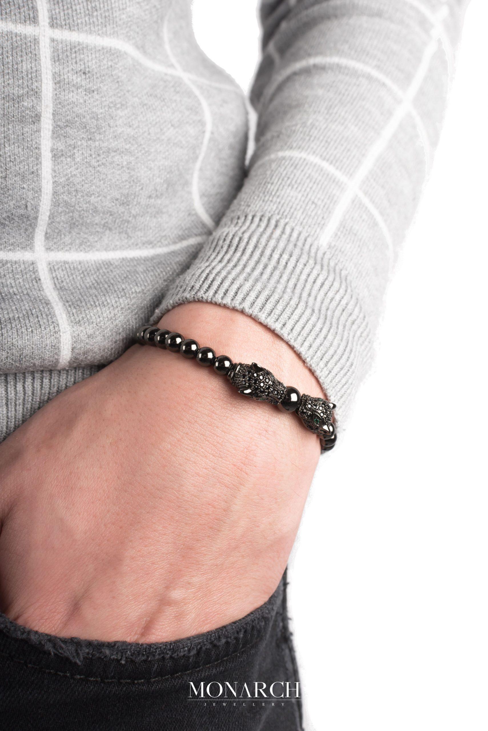 black luxury bracelet for man, monarch jewellery MA148NWM