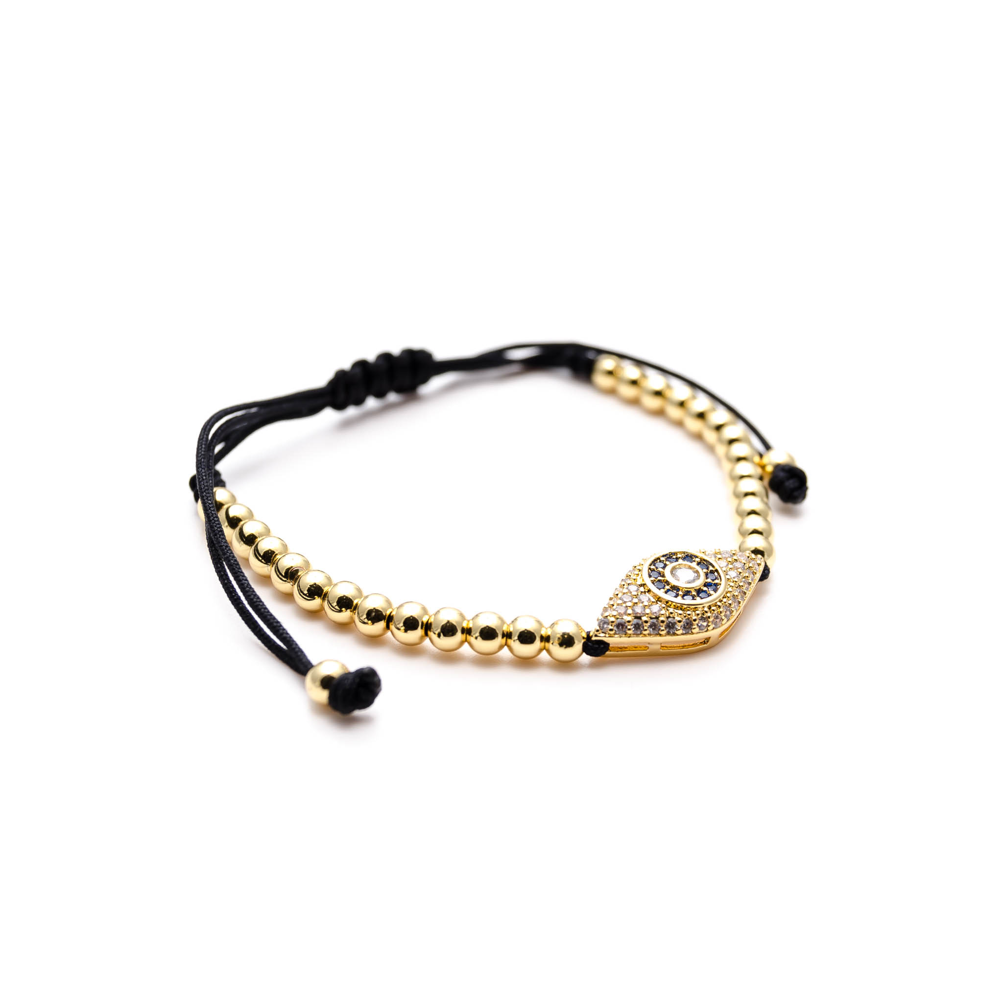 62b0d3827cf99 100%. Home   Shop   Oro Collection   24K Gold Evil Eye Charm Macrame  Bracelet