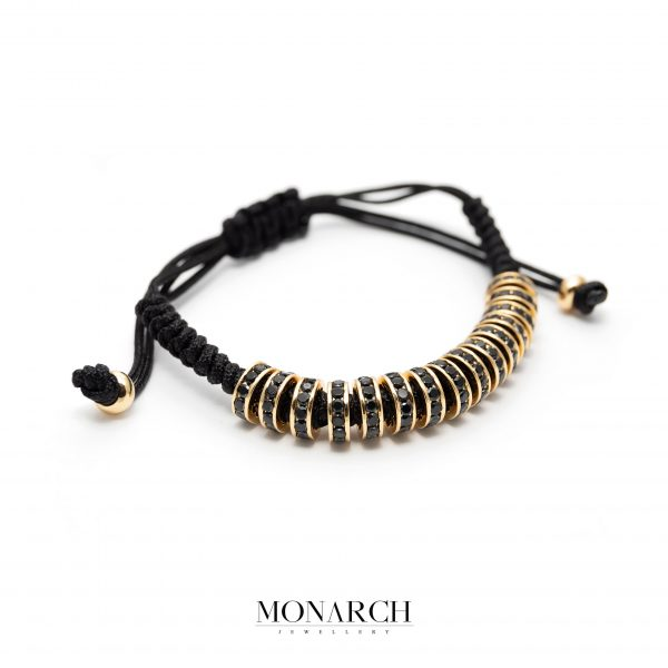 Gold black luxury bracelet for man, monarch jewellery MA169GBM